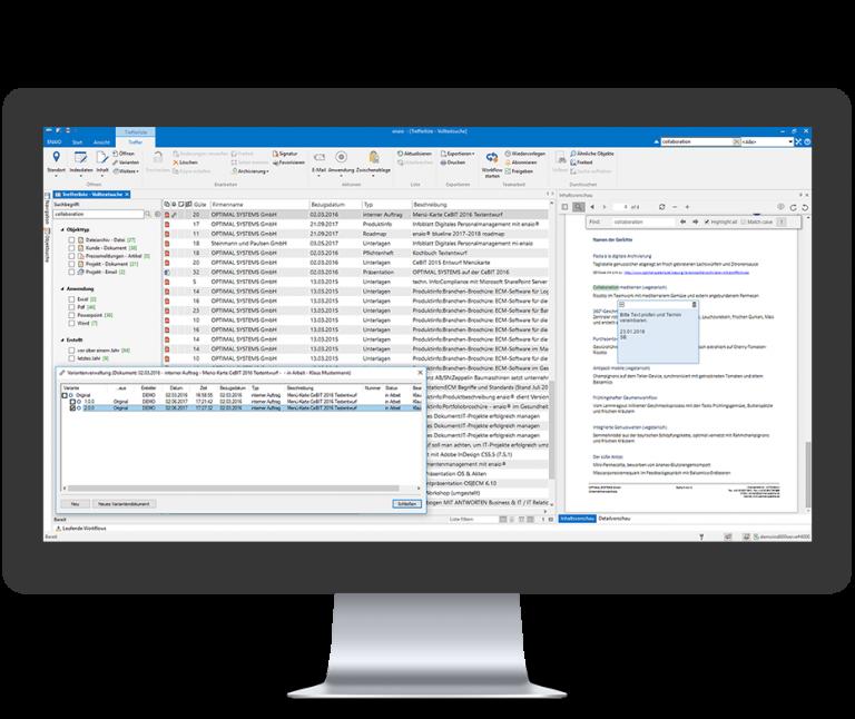Screenshot zeigt die Variantenverwaltung in enaio®