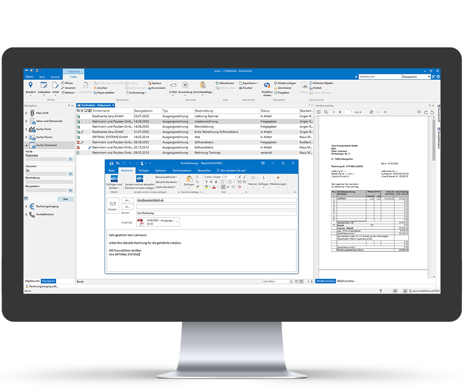 enaio® Invoice processing outlook connection