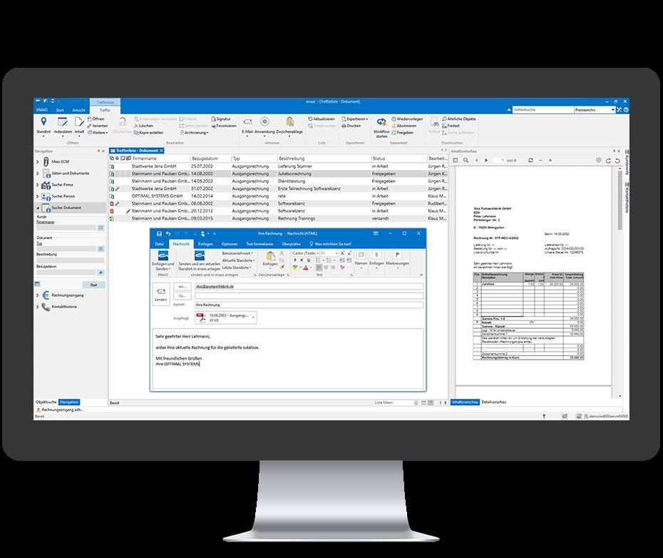 enaio Rechnungsbearbeitung Outlook Anbindung