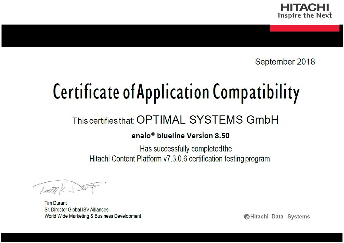 Zertifikat von Hitachi zur Application Compatibility von enaio®