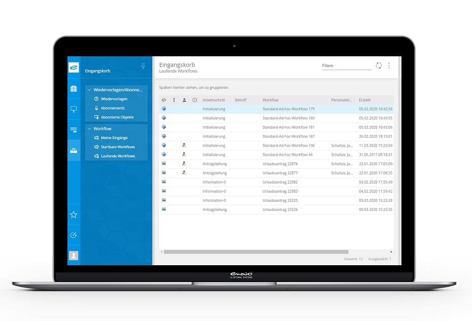 Der Screenshot zeigt laufende Workflows im enaio® Dokumentenmanagement