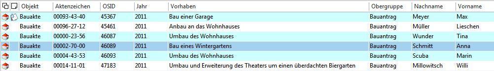 Der Screenshot zeigt eine Trefferliste in der digitale Bauakte.