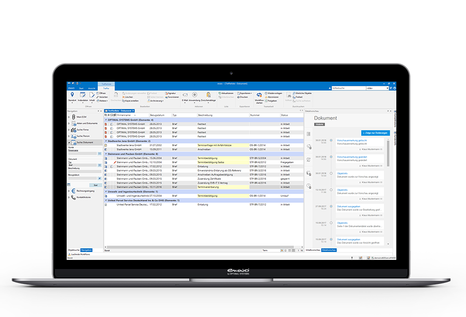 screenshot enaio® document management hit list