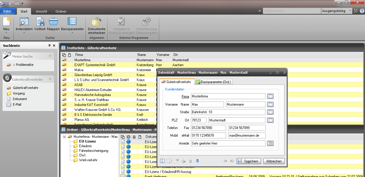 Screenshot enaio® Güterkraftverkehr Trefferliste