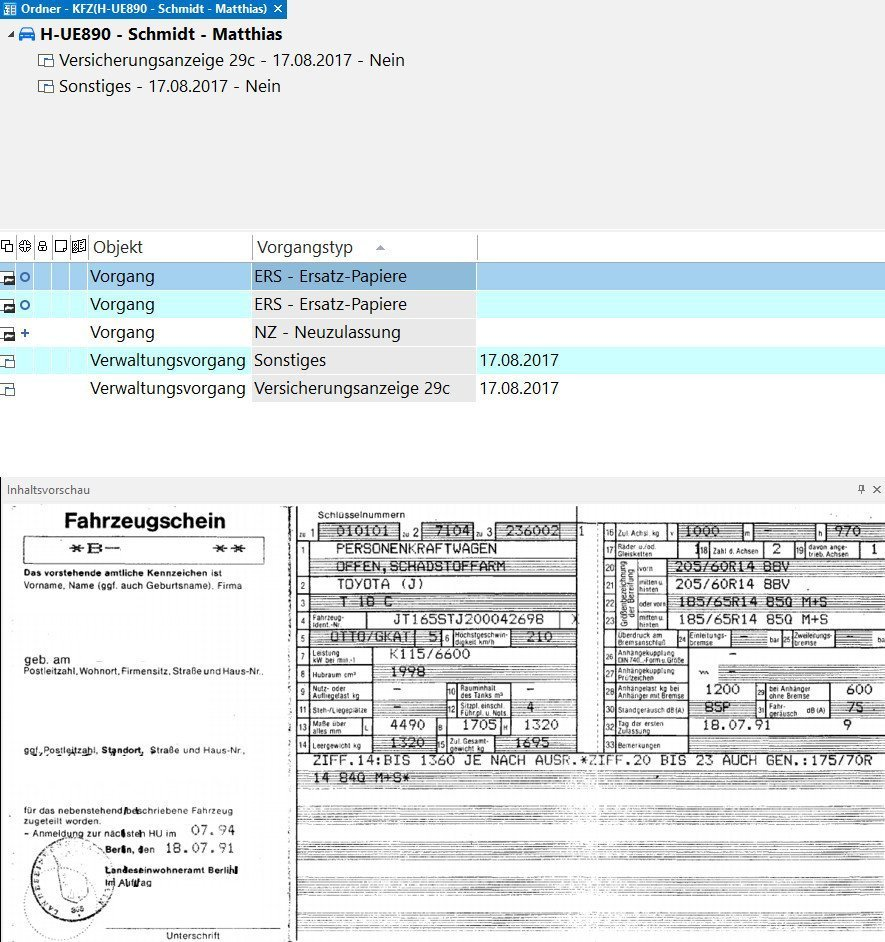 Screenshot enaio® Kfz Zulassung Ordneransicht