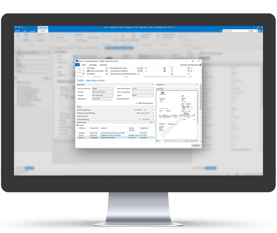 Screenshot enaio® Microsoft NAV Oberfläche