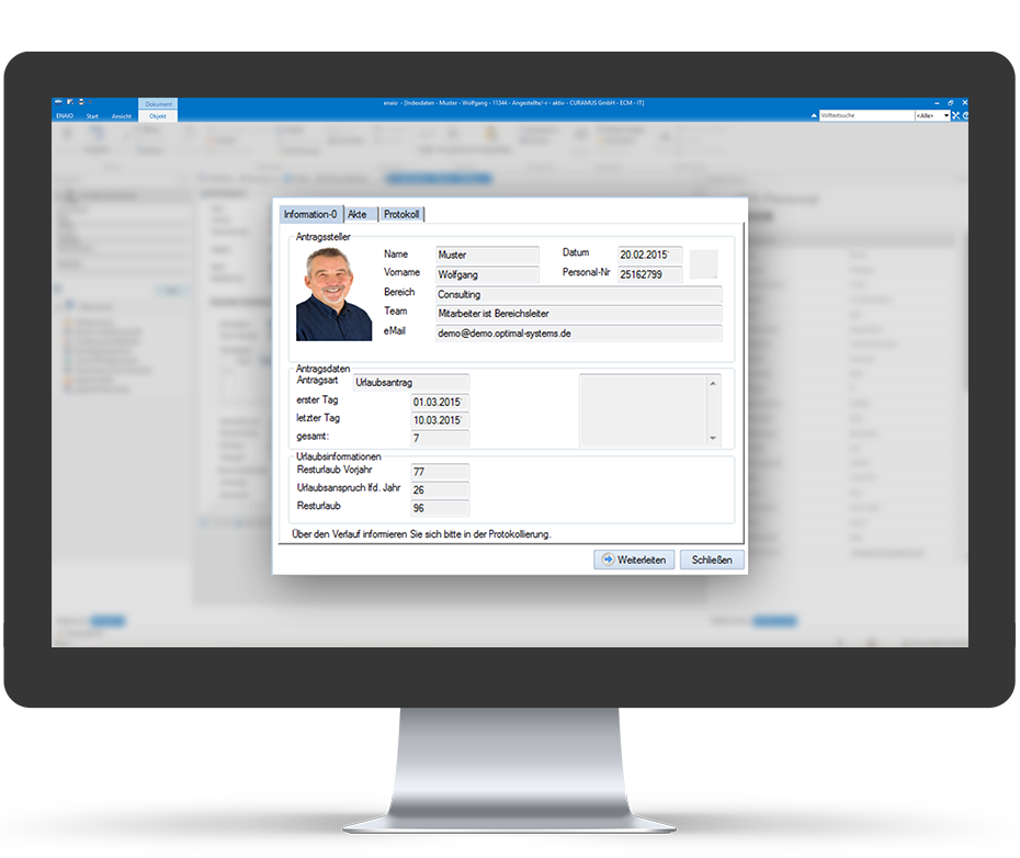 screenshot enaio® personal file holiday administration