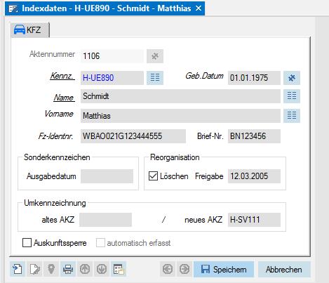 Screenshot enaio® KFZ Zulassung Indexdaten Maske