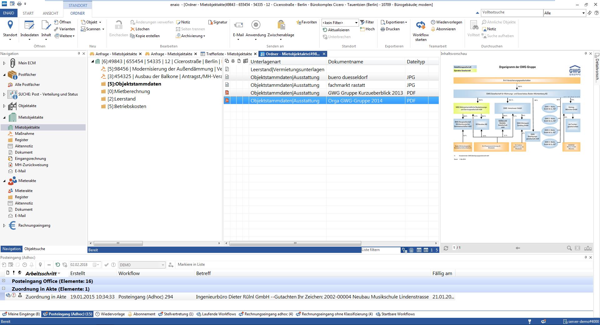 Screenshot Mieter- und Immobilienakte