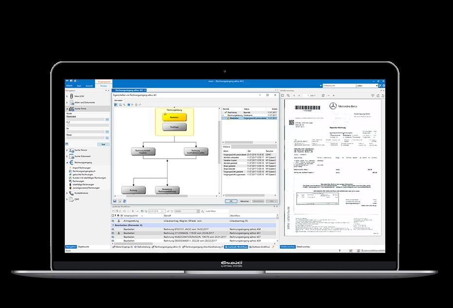Screenshot in einem Desktop Mockup zeigt ein Workflow Muster in enaio®.