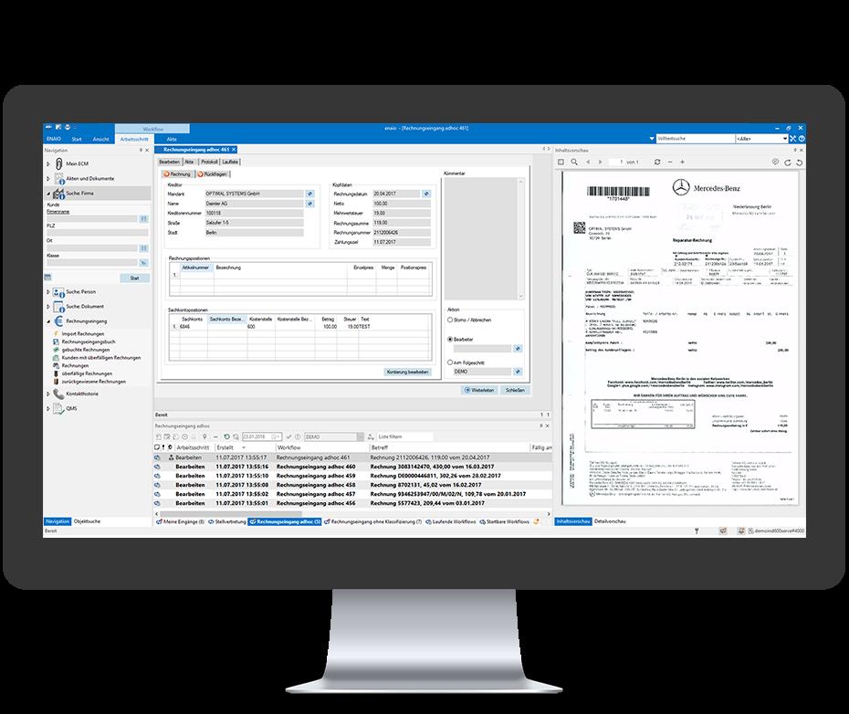 Screenshot in einem Desktop Mockup zeigt den elektronischen Rechnungseingang in enaio®.