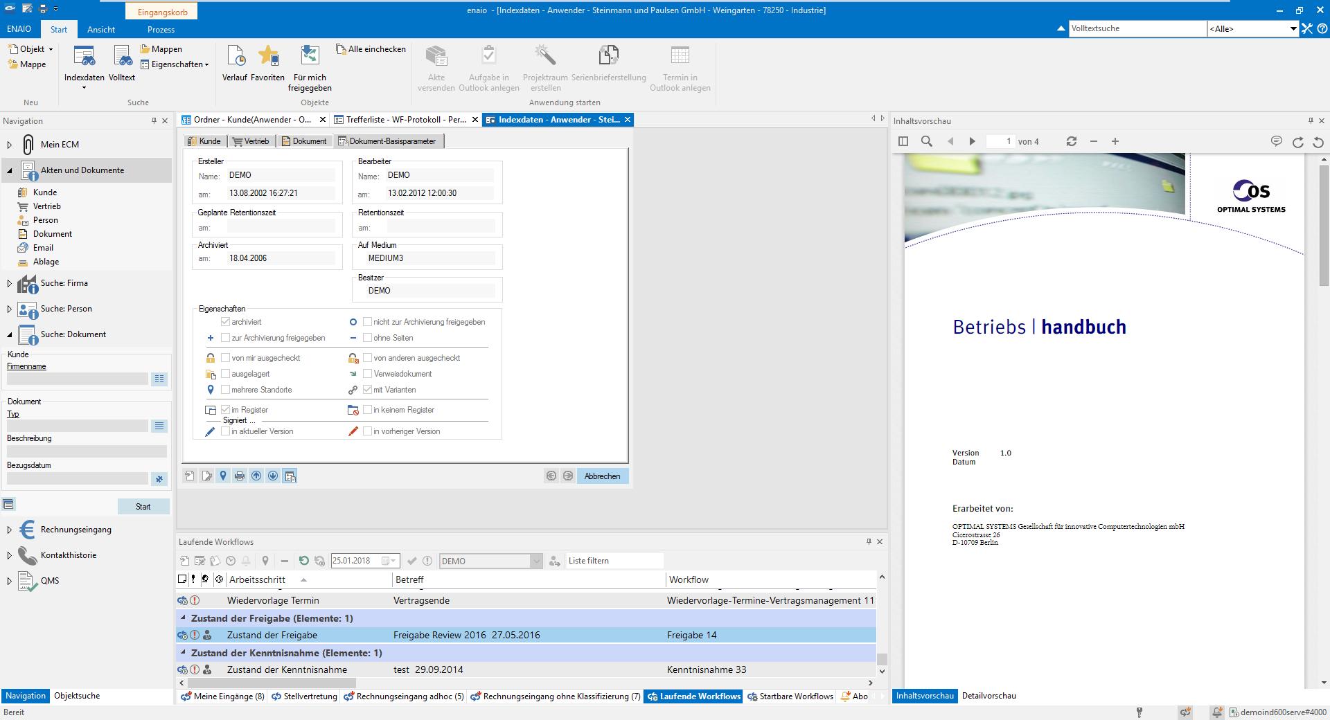 Screenshot enaio® Verwaltungsakte Indexdaten
