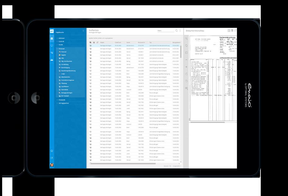 Screenshot enaio digitale Personalakte Trefferliste zu Verträgen