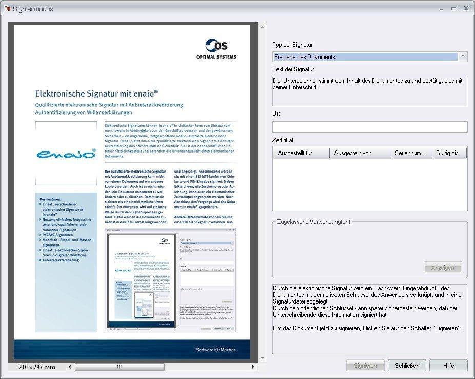 enaio® Elektronische Signatur Darstellung des Signiermodus