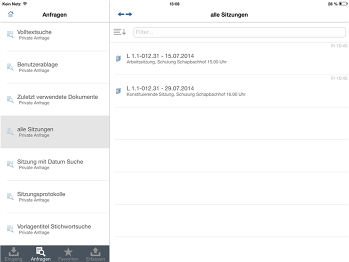 Screenshot Übersicht Sitzungen
