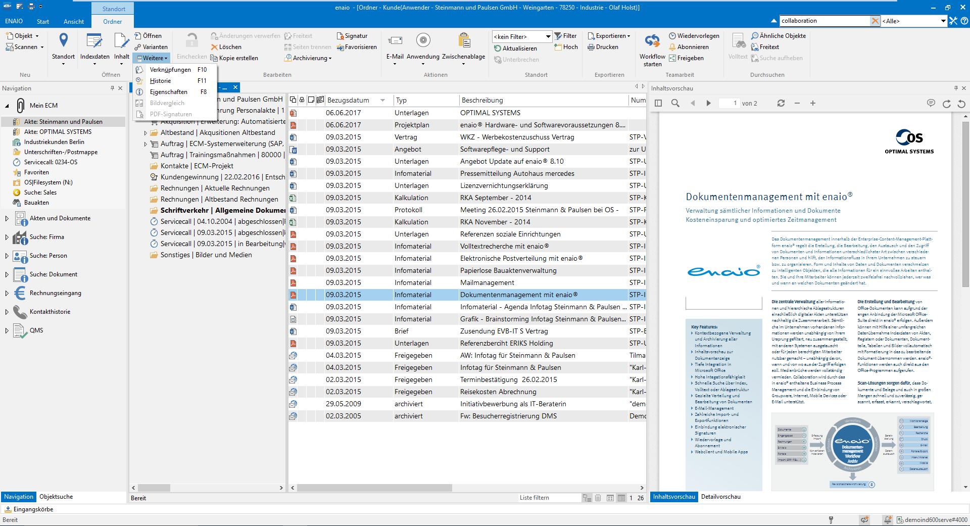 Der Screenshot zeigt wo man die Dokumentenhistorie im Compliance Management aufrufen kann