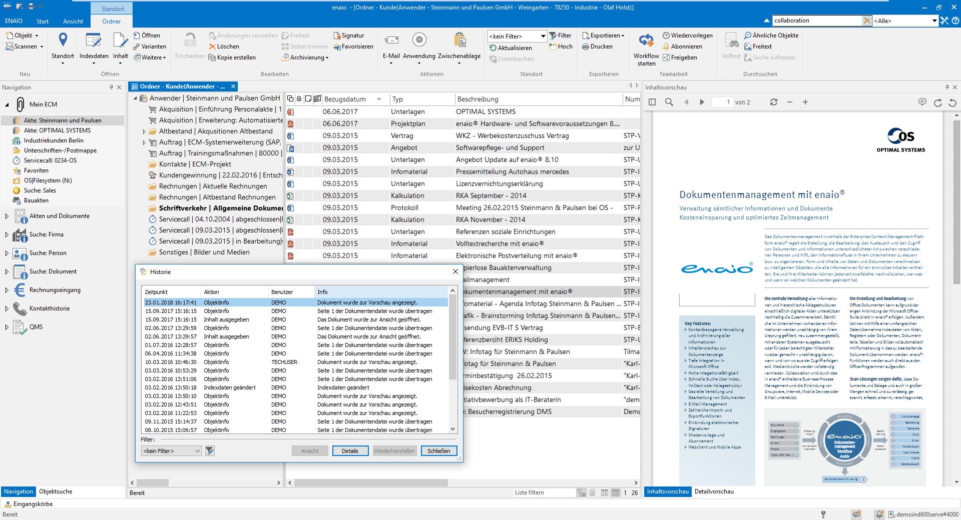 Der Screenshot zeigt wie die Dokumentenhistorie in enaio® aussieht.
