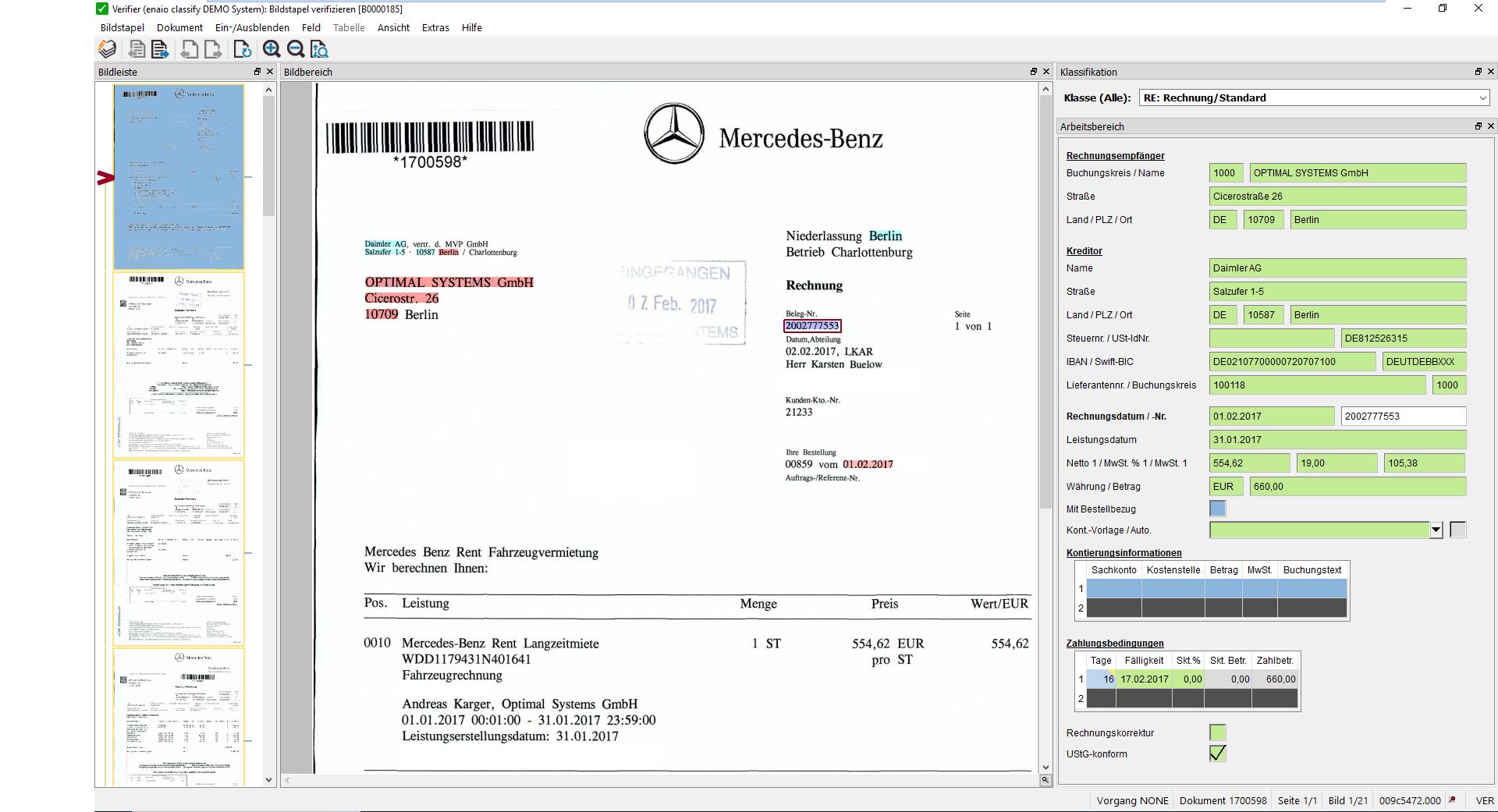 Auf dem Screenshot sieht man die Benutzeroberfläche der Rechnungsprüfung in enaio® classify.