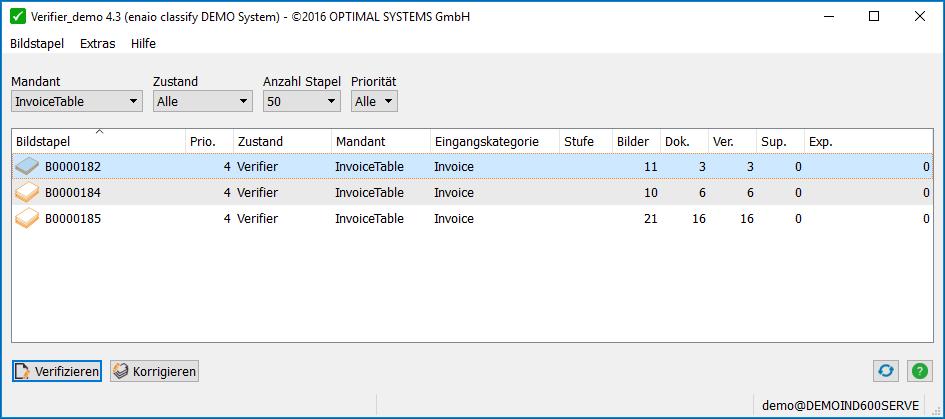 Auf dem Screenshot sieht man die Bearbeitungsoberfläche von enaio® classify Verifier.