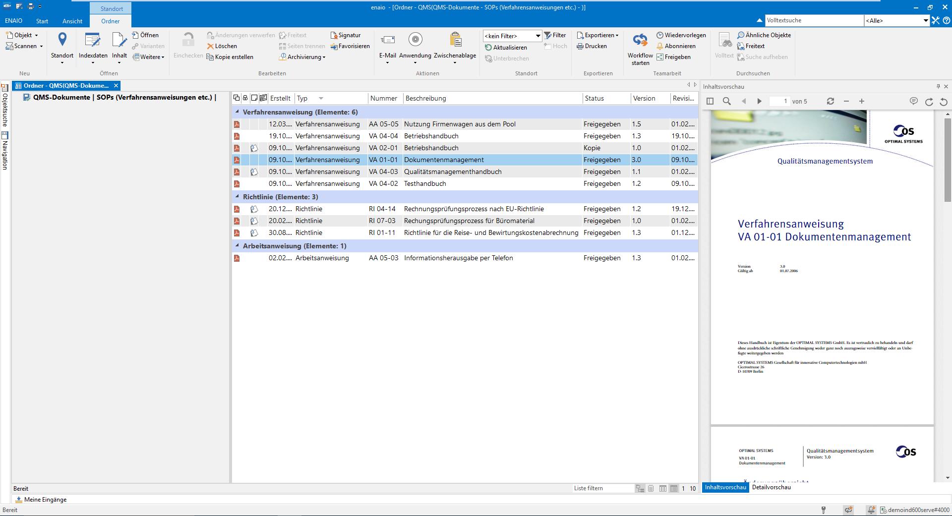 Qualitätsmanagement Screenshot - Geschäftsvorgänge dokumentieren