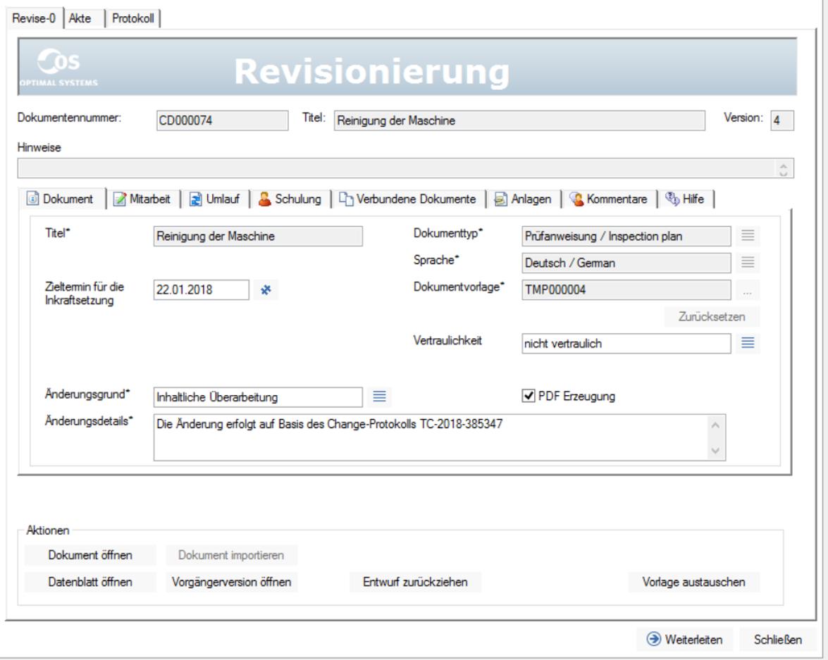 Gelenkte Dokumente Revisionierung Screenshot