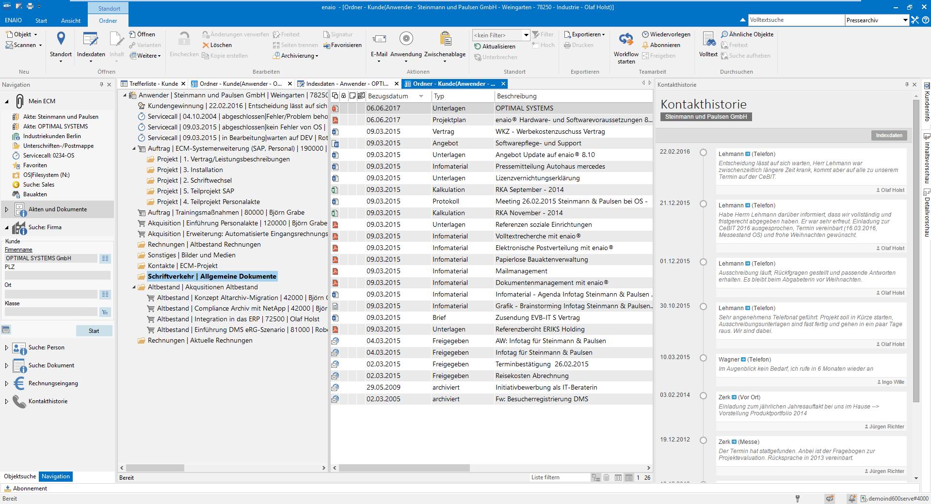 Digitale Geschäftspartnerakte Ordnerstruktur Screenshot