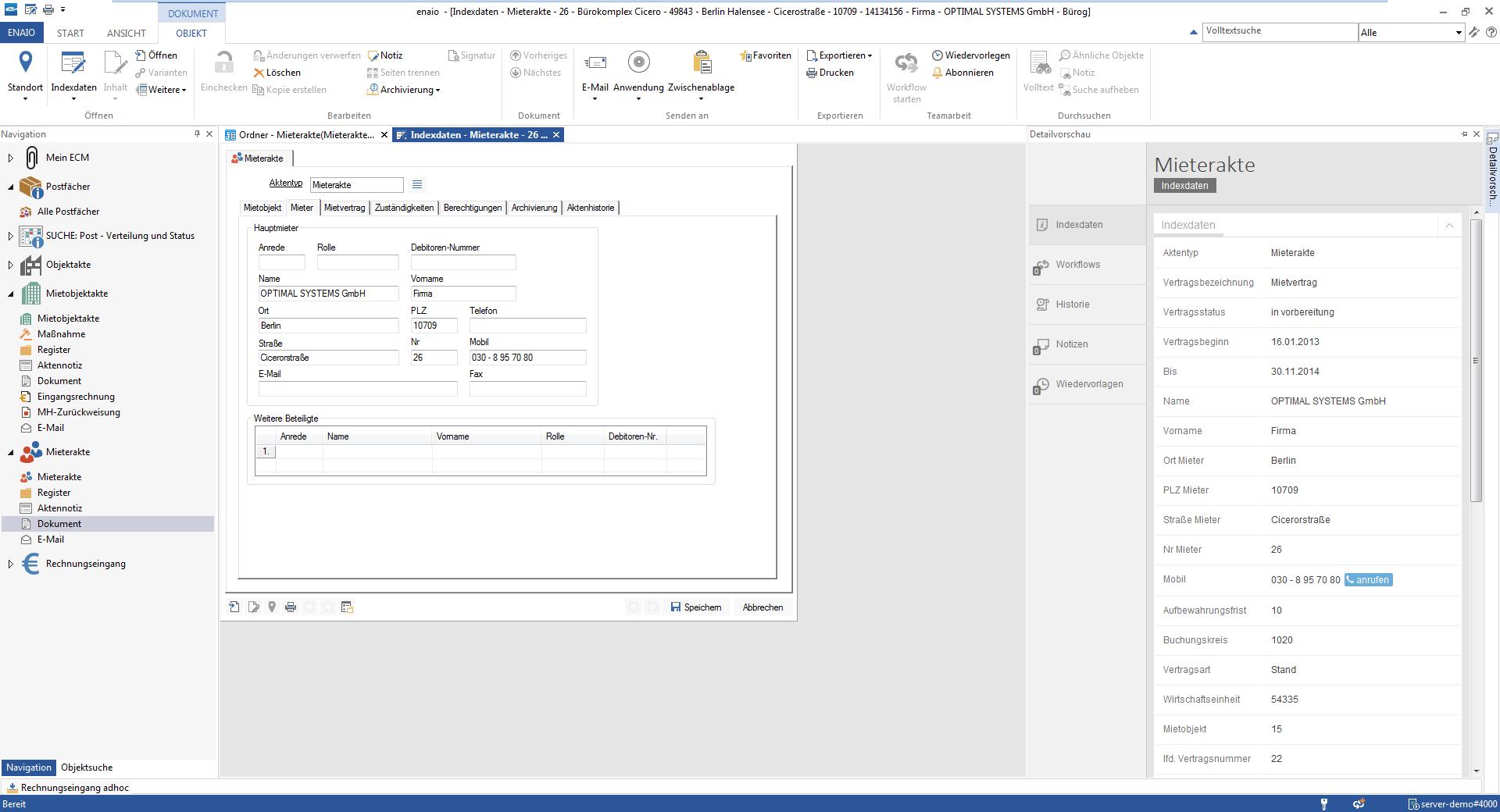 Mieterakte Screenshot