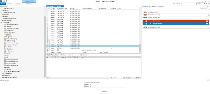 enaio labs Aufgabensteuerung Screenshot