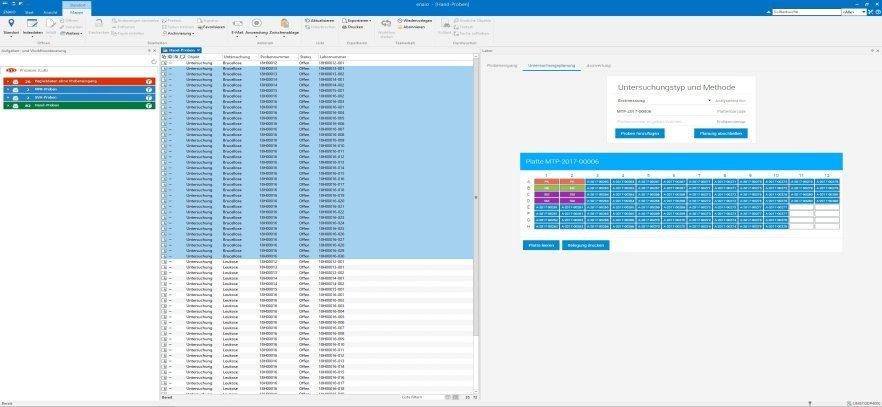 enaio® lims Untersuchungsplanung Screenshot