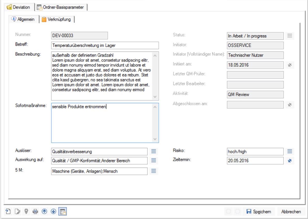 Der Screenshot zeigt die Status Ansicht eines Dokuments in enaio®