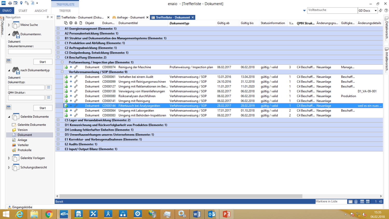 Screenshot Documents hit list in enaio®