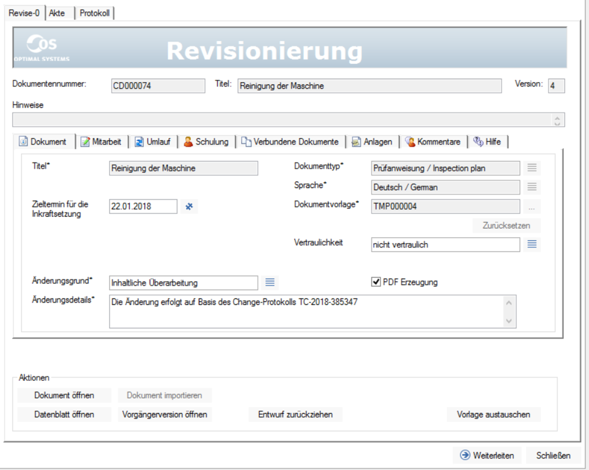 Screenshot enaio® controlled documents revision