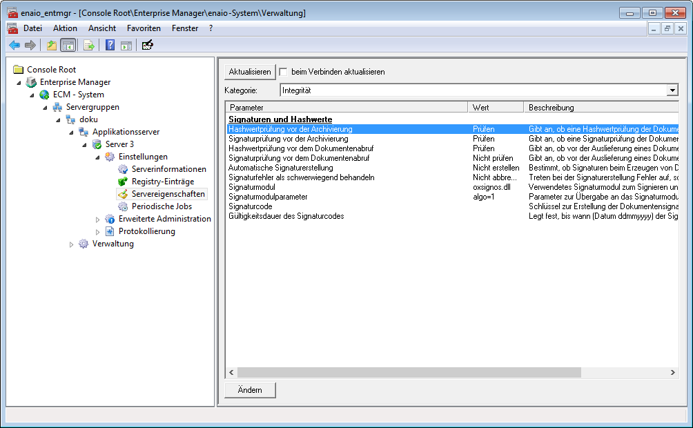 Screenshot enaio® Enterprise Manager Server Properties