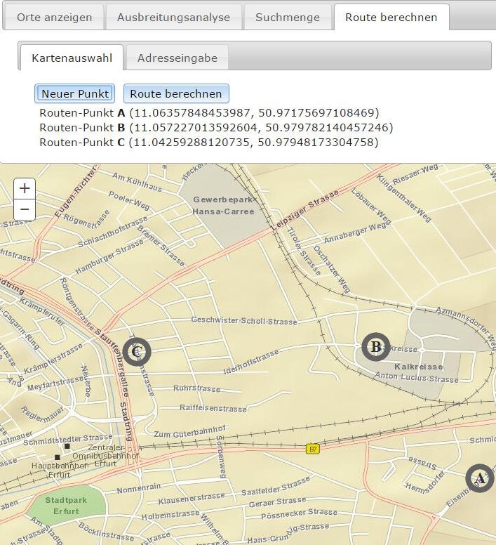 Screenshot einer Routenberechnung mit verschiedenen Routenpunkten