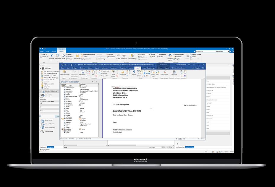 Screenshot enaio® Microsoft Office Verknüpfung mit Indexdaten