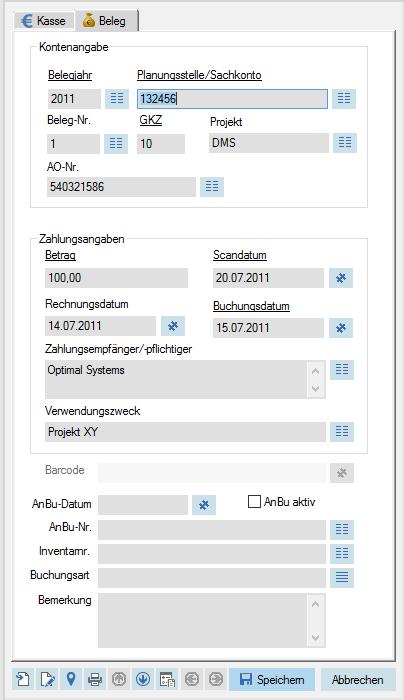 Kassenlösung enaio® Screenshot