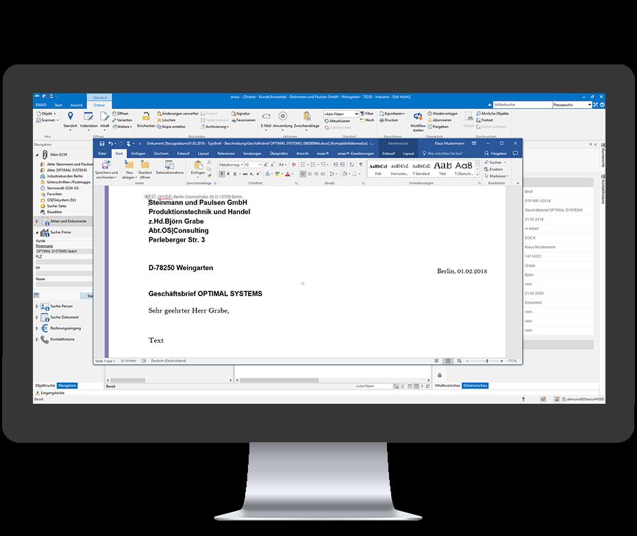 Screenshot enaio® Microsoft Word Integration