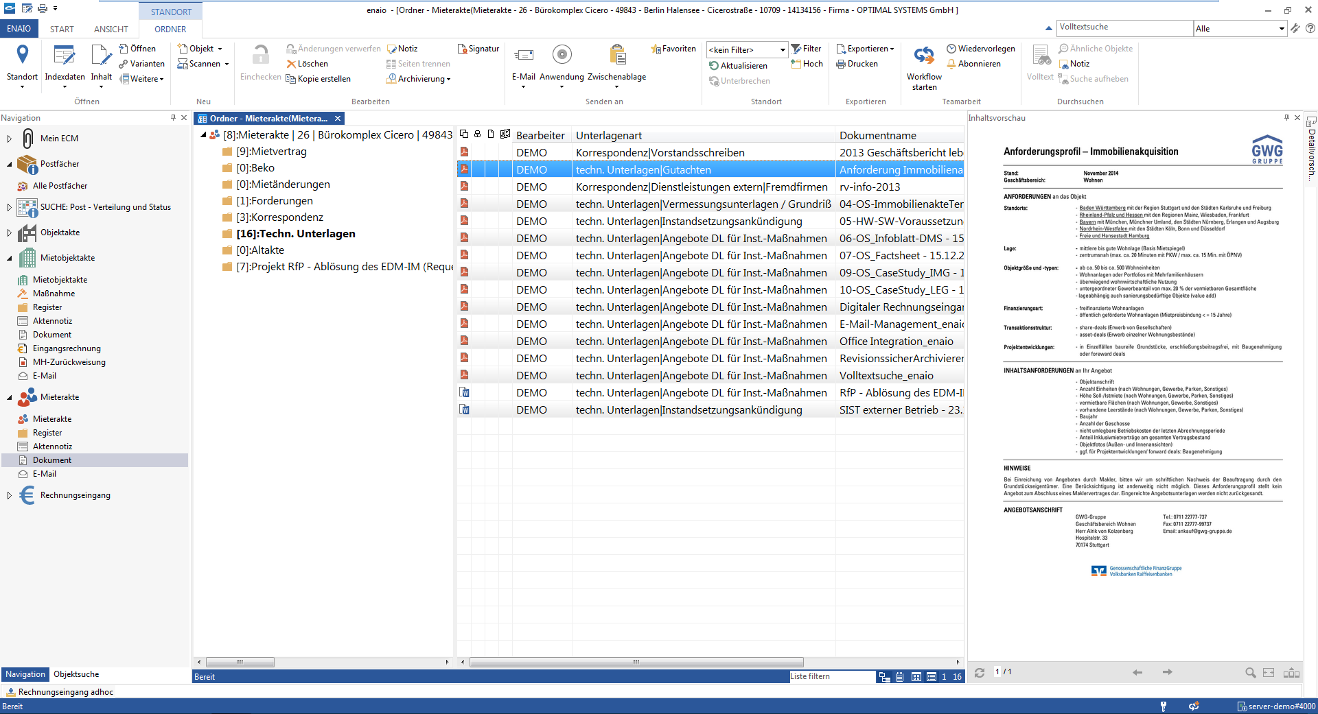 screenshot enaio® rental file folder overview