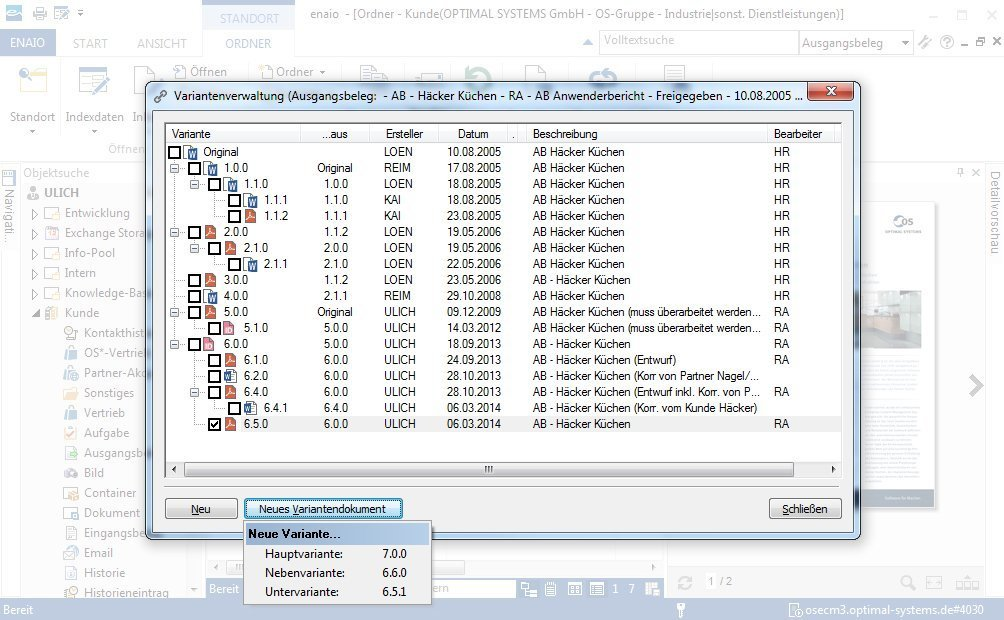 Screenshot zeigt enaio® variant management