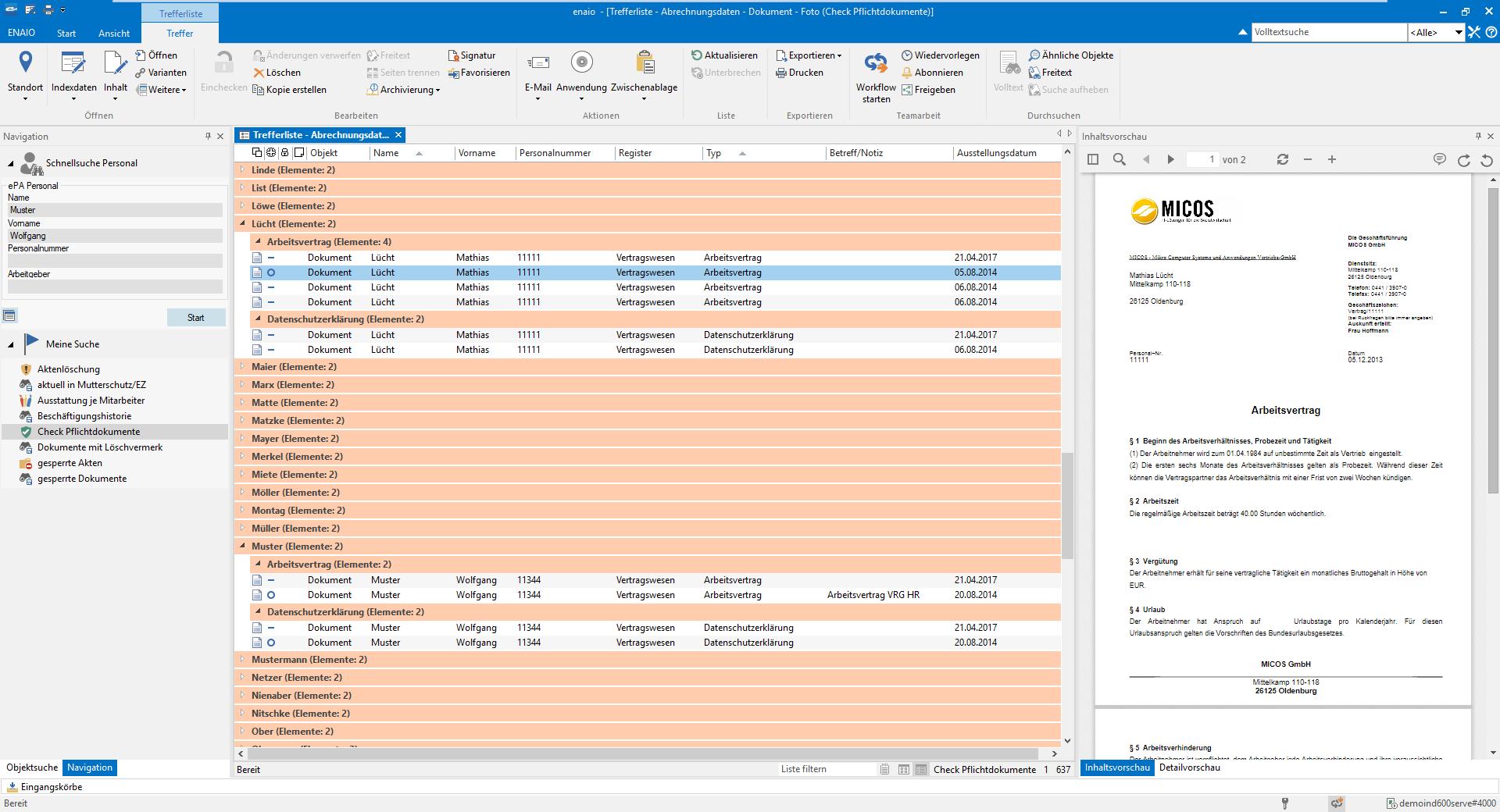 Screenshot zeigt das Bewerbungsmanagement in enaio®.