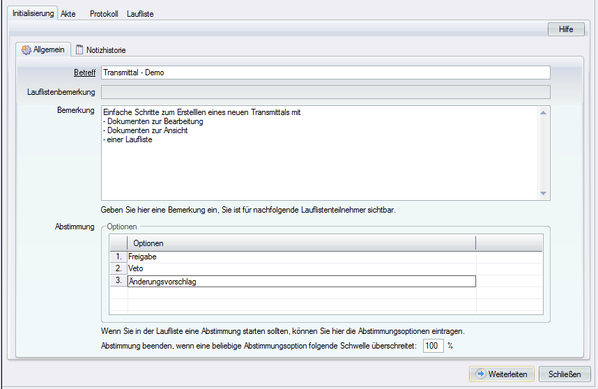 Screenshot Transmittal Management Initialisierung