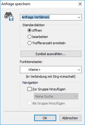 Screenshot of saving queries in enaio