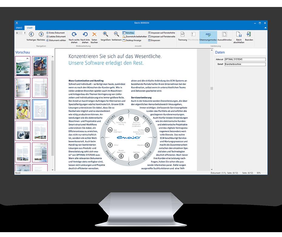 Ein Screenshot in einem Desktop Mockup zeigt die Dokumentenvorschau in enaio®.