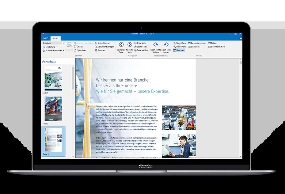 Ein Screenshot in einem Laptop Mockup zeigt die Dokumentenvorschau in enaio®.