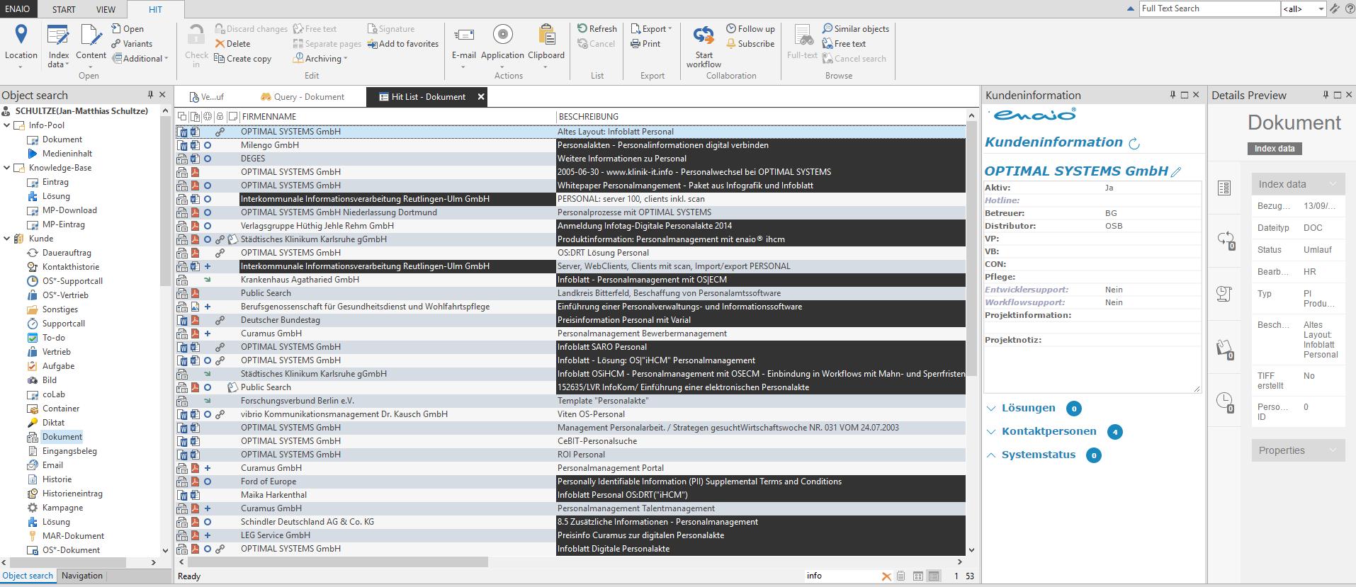 screenshot enaio® business partner records hit list