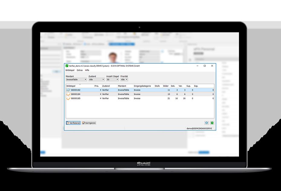 Screenshot enaio® classify verifier