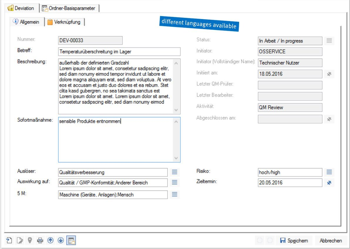 Screenshot enaio® deviation management data mask