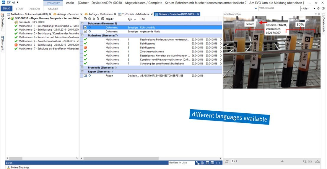 Screenshot enaio® deviation management folder view
