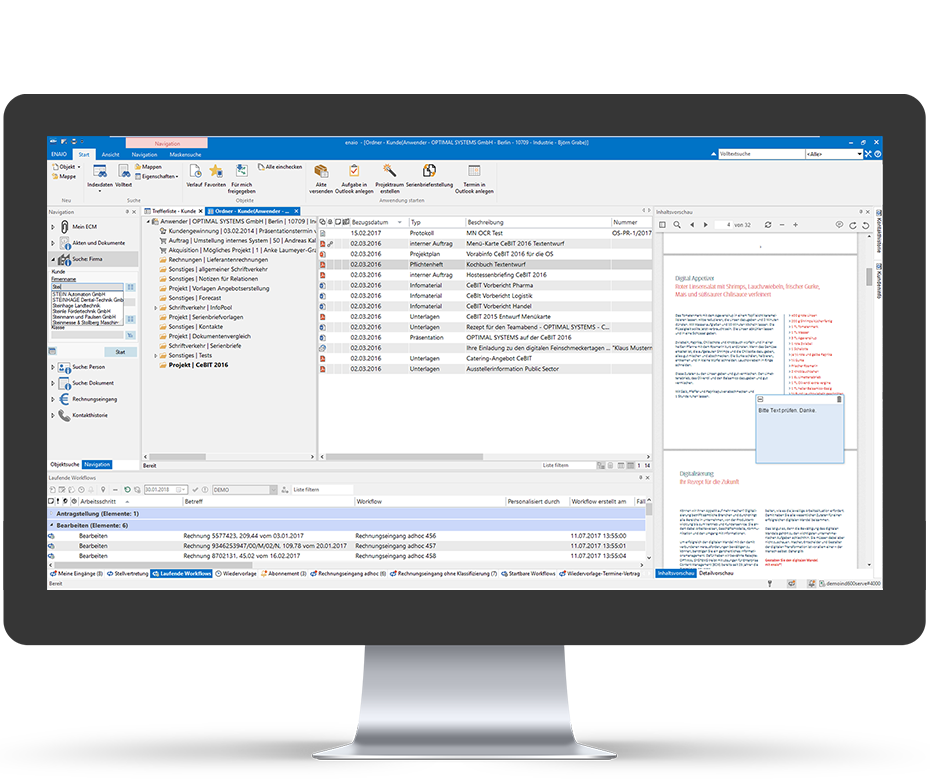 screenshot enaio® document management folder view