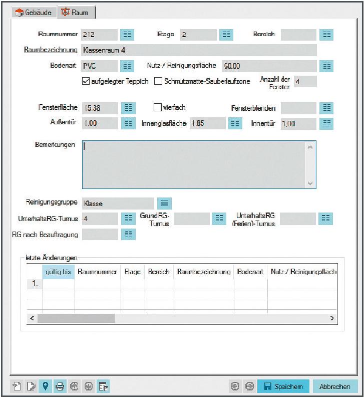 Screenshot enaio® Gebäudemanagement Datenmaske Raum